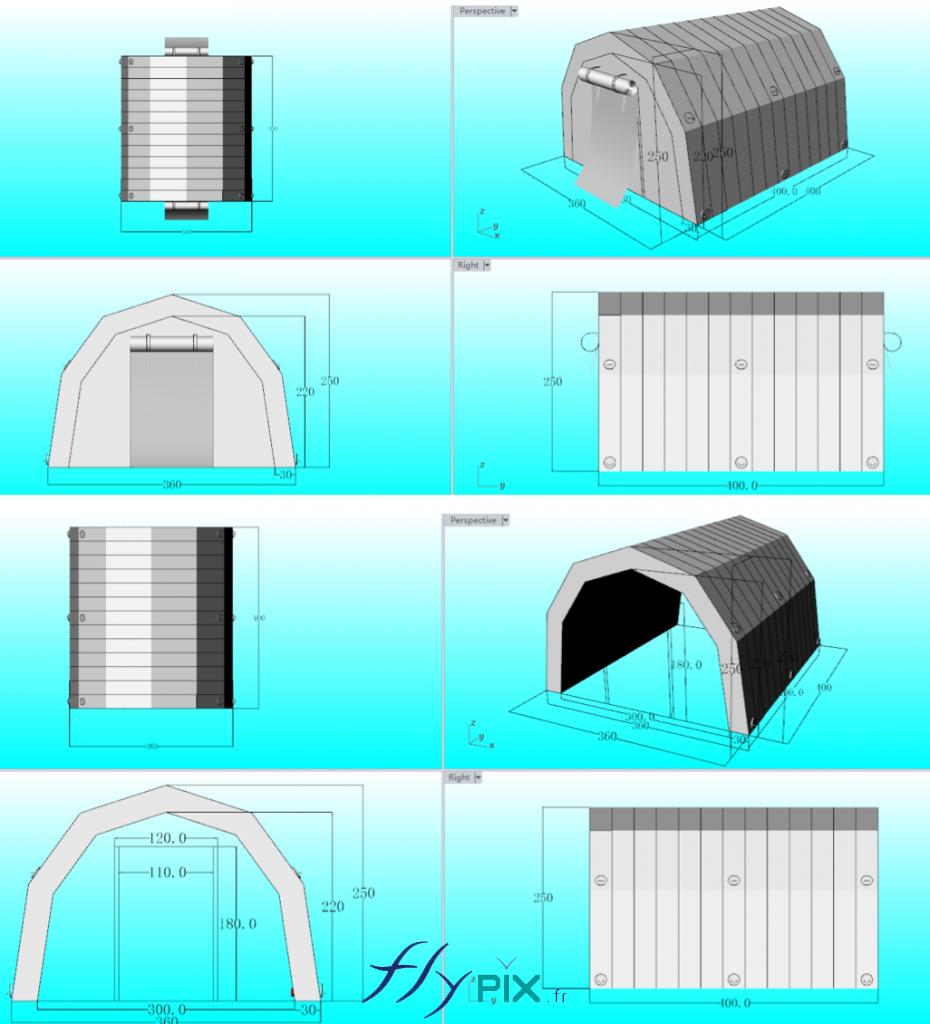 Tente gonflable médicale à usage militaire, fabriquée pour la Marine Nationale